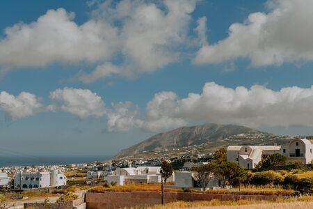 Oia Santorini Greece famous with romantic and beautiful sunsets. Oia village in Santorini island.Greece Stockfoto