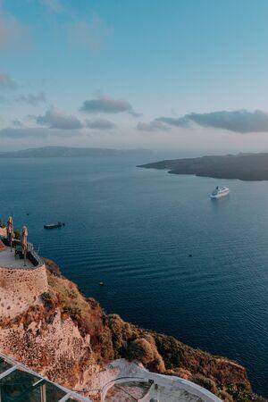 Oia Santorini Greece famous with romantic and beautiful sunsets. Oia village in Santorini island.Greece.