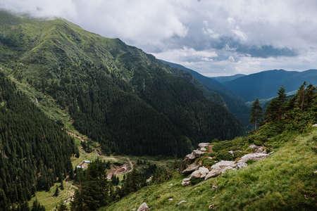 summer mountains green grass and blue sky landscape. mountain panorama Standard-Bild