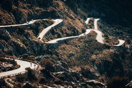 Sa Calobra, Mallorca. Road in mountains, favorite place for cyclist. 版權商用圖片