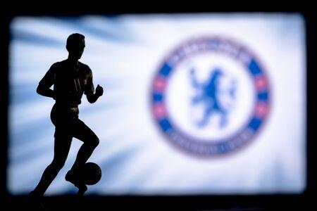 Premier League Football club logo.. Soccer player silhouette.