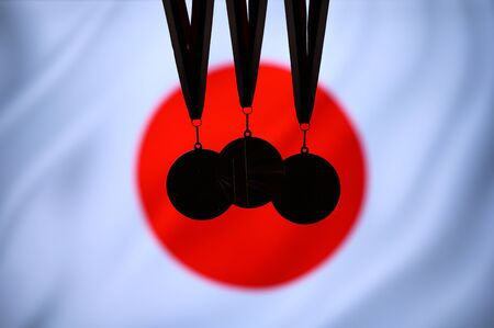 Japan flag, and tree medal silhouette, sport background. 版權商用圖片