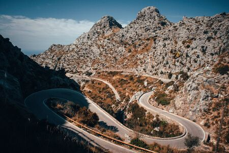 Sa Calobra Mallorca Road in mountains, favorite place for cyclist. Sport in nature