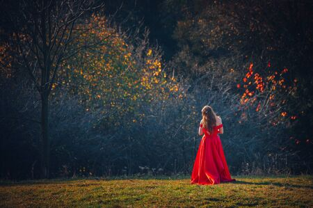 Mysterious sorceress in a beautiful red dress. Her hair and dress are fluttering in the wind. Background bright, autumn, fiery Stock Photo