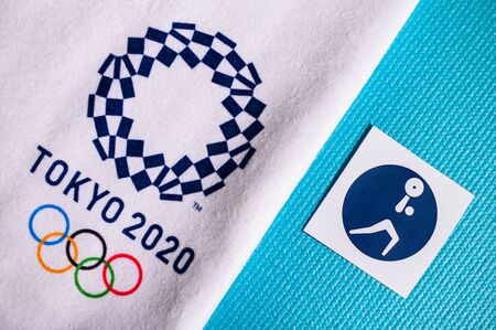 TOKYO, JAPAN, JANUARY. 20. 2020: Weightlifting pictogram for summer olympic game Tokyo 2020