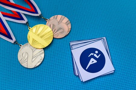 Athletics, Track and Field icon and medal set, gold silver and bro