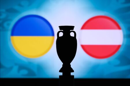 Ukraine vs Austria, Euro National flags, and football trophy silhouette. Background for soccer match, Group C, Bucharest, 22. June 2020