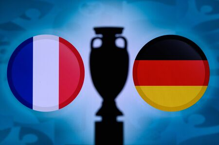 France and Germany, national Flag football trophy silhouette match 16 June Munich.