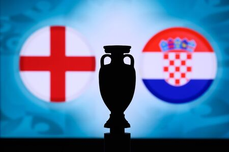 England vs Croatia, Euro National flags, and football trophy silhouette. Background for soccer match, Group D, Wembley, 14. June 2020