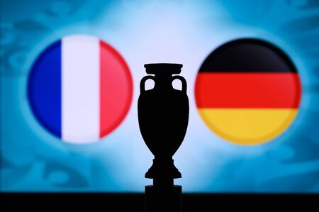 France vs Germany, Euro national flags, and football trophy silhouette. Background for soccer match, Group F, 16. June 2020, Munich