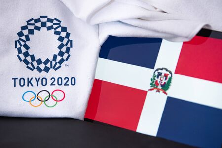 TOKYO, JAPAN, FEBRUARY. 8. 2020: Dominican Republic at summer olympic game in Tokyo 2020, national flag, black background