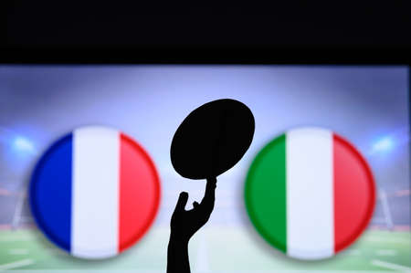 France vs Italy, Six nations Rugby match, Rugby trophy silhouette