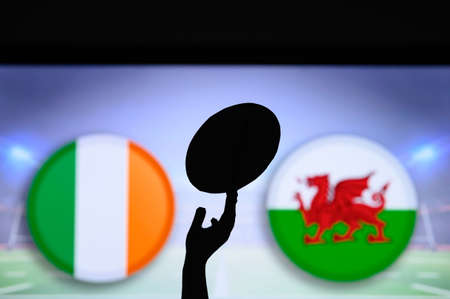 Ireland vs Wales, Six nations Rugby match, Rugby trophy silhouette