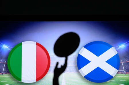 Italy vs Scotland, Six nations Rugby match, Rugby ball in hand silhouette