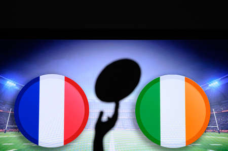 France vs Ireland, Six nations Rugby match, Rugby ball in hand silhouette