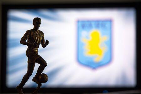 Premier League Football club logo.. Soccer player silhouette. Sajtókép