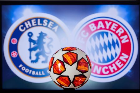 UEFA Champions League 2020, Round of 16 UCL football, Knockout stage, playoff, Official Adidas soccer ball 2020.