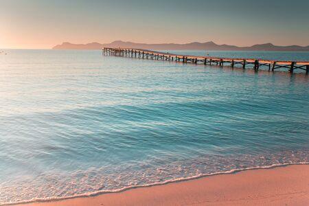 Platja de Muro. Mallorca, Spain Sea in beautiful summer morning light 版權商用圖片