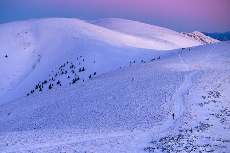 Winter landscape, mountains meadow covered by snow, pink and blue colors on the sky 스톡 콘텐츠