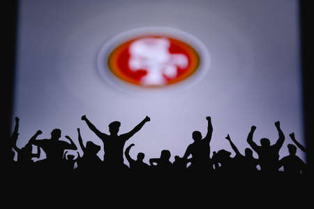 San Francisco 49ers. Fans support professional team of American National Foorball League. Silhouette of supporters in foreground. Logo on the big screen.