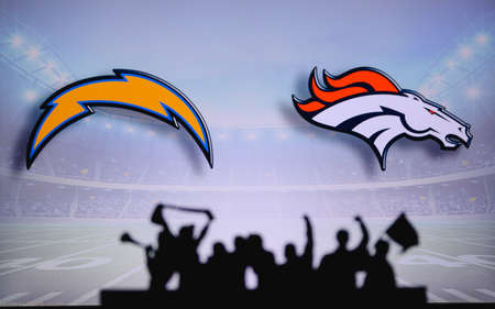Los Angeles Chargers vs. Denver Broncos . Fans support on NFL Game. Silhouette of supporters, big screen with two rivals in background. Editorial