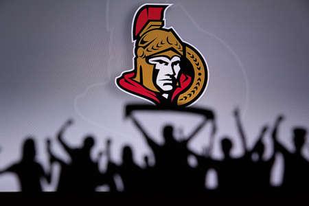 TORONTO, CANADA, JULY 17: Ottawa SenatorsFans Silhouette. Crowd celebrate and support the NHL hockey Team. Sport photo, edit space