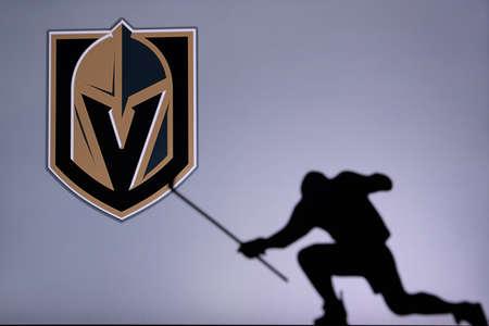 TORONTO, CANADA, JULY 17: Vegas Golden Knights Logo. Professional NHL hockey player celebrate goal. Silhouette photo, Edit space