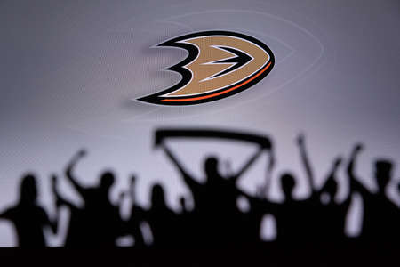 TORONTO, CANADA, JULY 17: Anaheim DucksFans Silhouette. Crowd celebrate and support the NHL hockey Team. Sport photo, edit space Editorial