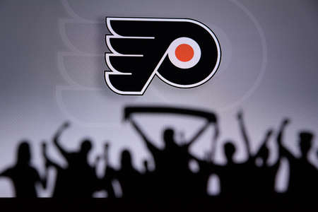 TORONTO, CANADA, JULY 17: Philadelphia FlyersFans Silhouette. Crowd celebrate and support the NHL hockey Team. Sport photo, edit space