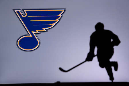 TORONTO, CANADA, JULY 17: St. Louis Blues Concept photo. silhouette of professional NHL hockey player