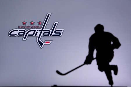 TORONTO, CANADA, JULY 17: Washington Capitals Concept photo. silhouette of professional NHL hockey player