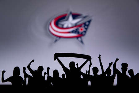 TORONTO, CANADA, JULY 17: Columbus Blue Jackets Fans celebrate and support the NHL hockey Team.