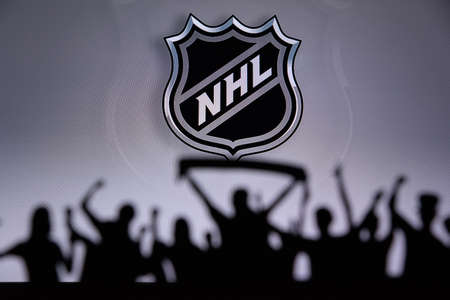 TORONTO, CANADA, JULY 17: National Hockey LeagueFans Silhouette. Crowd celebrate and support the NHL hockey Team. Sport photo, edit space Editorial