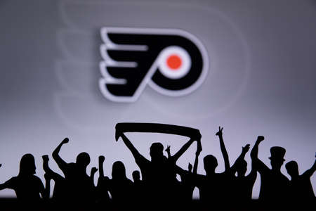TORONTO, CANADA, JULY 17: Philadelphia Flyers Fans celebrate and support the NHL hockey Team.