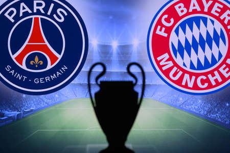 LISBON, PORTUGAL, AUGUST 19, 2020: UEFA Champions League 2020 FINAL, Paris Saint-Germain (FRA) vs. Bayern Munich (GER. UCL Final, Lisbon, Portugal, Sunday August 23. Trophy silhouette in background.