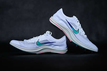 BANGKOK, THAILAND, AUGUST 17. 2020. Nike ZoomX Dragonfly Racing Spike. Controversial Track and Field Athletics Spike for professional Athletes at Summer olympic Game in Tokyo