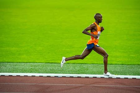 OSTRAVA, CZECH REPUBLIC, SEPTEMBER. 8. 2020: Jacob Kiplimo Uganda long-distance runner in 5000 meters professional athletics race, preparation for game in Tokyo 2021 Editorial