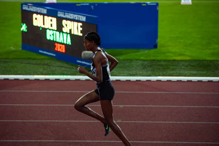 OSTRAVA, CZECH REPUBLIC, SEPTEMBER. 8. 2020: Sifan Hassan, Ethiopian-born Dutch middle and long-distance runner. Wurm up before race in nike world champions Singlet