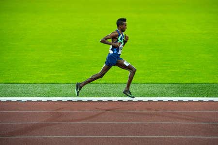 OSTRAVA, CZECH REPUBLIC, SEPTEMBER. 8. 2020: Selemon Barega Ethiopian long-distance runner in 5000 meters professional athletics race, preparation for game in Tokyo 2021