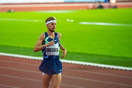 OSTRAVA, CZECH REPUBLIC, SEPTEMBER. 8. 2020: Jimmy Gressier French long-distance runner in Nike singlet before 1500 meters race