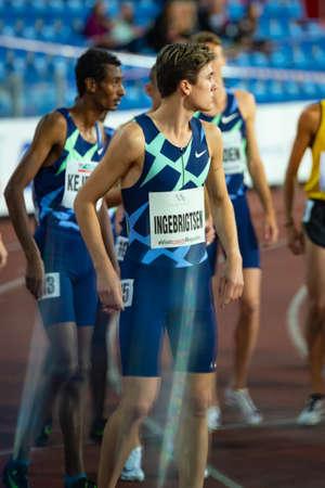 OSTRAVA, CZECH REPUBLIC, SEPTEMBER. 8. 2020: Jakob Ingebrigtsen Norwegian middle-distance runner in Nike singlet before 1500 meters race Editorial