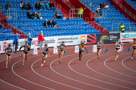 OSTRAVA, CZECH REPUBLIC, SEPTEMBER. 8. 2020: Sprinters race, Professional track and field sprint race, athletes on the track. Original wallpaper for summer game in Tokyo 2021