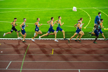 OSTRAVA, CZECH REPUBLIC, SEPTEMBER. 8. 2020: Professional Track and Field Race. Athlete on Athletics track in 1500 meters race. Jakob Ingebrigtsen in the lead. Preparation for game Tokyo 2021 Editorial