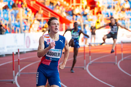OSTRAVA, CZECH REPUBLIC, SEPTEMBER. 8. 2020: Karsten Warholm, Norwegian athlete who competes in the sprints and 400m hurdles. Professional athlete while world record attempt