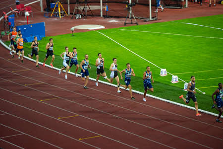OSTRAVA, CZECH REPUBLIC, SEPTEMBER. 8. 2020: Track and Field Race, professional athletes on athletics Track. 800 meters race. Preparation for summer game in Tokyo 2021