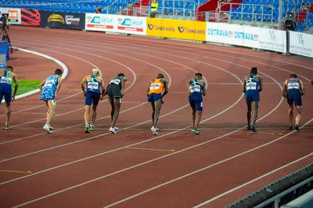 OSTRAVA, CZECH REPUBLIC, SEPTEMBER. 8. 2020: Start of professional track and field athletics race. Original wallpaper for summer game in Tokyo 2021