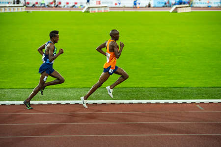 OSTRAVA, CZECH REPUBLIC, SEPTEMBER. 8. 2020: Selemon Barega and Jacob Kiplimo long-distance runner in 5000 meters professional athletics race, preparation for game in Tokyo 2021 Editorial