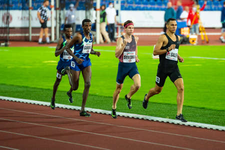 OSTRAVA, CZECH REPUBLIC, SEPTEMBER. 8. 2020: Professional Track and Field Race. Long distance Athlete on Athletics track in 5000 meters race.