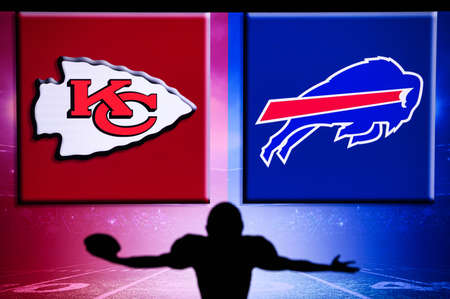 BUFFALO, UNITED STATES OF AMERICA, OCTOBER 11: Kansas City Chiefs vs. Buffalo Bills. NFL Game, Week 6 in season 2020. Silhouette of NFL professional player in foreground. Game background on the screen