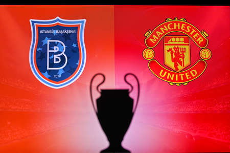 NYON, SWISS, NOVEMBER 2. 2020: Istanbul Basaksehir Vs. Manchester United. Football UEFA Champions League 2021 Group Stage match. UCL Trophy silhouette, sign of club on the screen in background